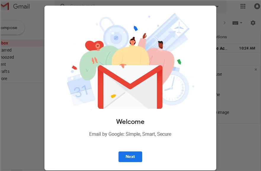 आपकी ईमेल आई डी बन चुकी है Next पर क्लिक करके आगे बढ़ें