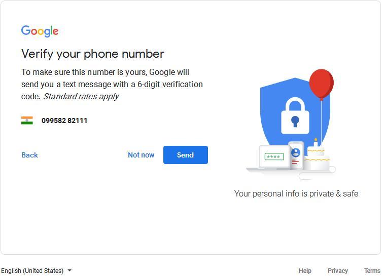 जीमेल आई डी के लिए अपना मोबाइल नंबर वेरीफाई करें